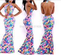 Women Maxi Long Floral Dress European Fashion Elegant Backless Maxi Bandage Evening Prom Party Clubwear Dress Hot Sale