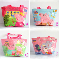 wholesales cartoon peppa pig waterproof nylon hand bag for children kids boy pepa shopping bag