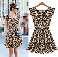 M-XL New sexy casual women dress leopard print Vintage sleeveless o-neck ruffles summer lady's dress free shipping