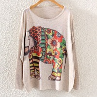 2014 Winter Vintage Fashion Women Batwing Sleeve Knitted Elephant Print Sweater Loose Coat Jumper Pullover Knitwear Tops ST01A20