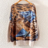 2014 Autumn Winter Fashion Women Batwing Sleeve Knitted Leopard Print Sweater Loose Coat Jumper Pullover Knitwear Tops ST01A34