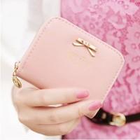 2014 new arrival women wallets original fashion cute  metal  bowknot zipper lady's coin purse wallet  free shipping