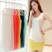 2014 ladies sleeveless vest candy-colored chiffon shirt chiffon sleeveless vest straps bottoming shirt S-3XL