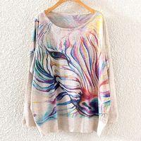 2014 Winter Vintage Fashion Women Batwing Sleeve Knitted Rainbow Zebra Print Sweater Coat Jumper Pullover Knitwear Tops ST01A27