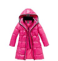 2014 child girls jacket cotton winter zipper hooded coat ,children's 90% white duck down outerwear for girl kid size 110 -160 cm