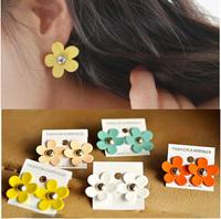 E283  sweet little daisy multicolor stud earring earrings women earrings fashion earrings 2014 earrings for women