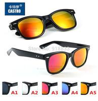 2014 Restro Brand Unisex 2140 Driving Mirror Reflective Sunglasses Colorful Men Vacation Women Wayfarer Glass Tempere Eyewear