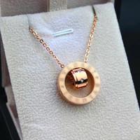 Luxury brand titanium stainless steel necklace rhinestone crystal pendant short chain choker necklace women jewelry acessories