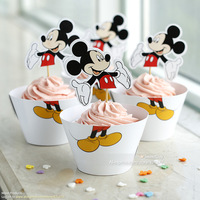 Free Shipping Mickey Mouse cupcake wrappers party supplies baby shower decoration for kids birthday favor cake cup toppers picks