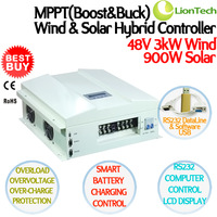 3kW 48V 90A MPPT BOOST&BUCK Wind Solar Hybrid Controller, 3000W Wind 900W Solar, High & Low Voltage Charge Function, RS232, LCD
