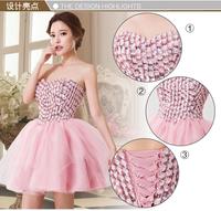 Top Becautiful Flowers Crystal Short Sexy Pink Evening Prom Dress Bridal Gown Vestido De Novia u0069