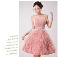 Sexy Nude Pink Short Evening Prom Dress Bridal Gown Vestido De Novia u0068