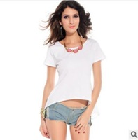 women summer new casual t-shirts summer fashion women's t-shirt lace plus size punk 2014 top clothing 412