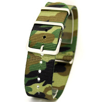 Camouflage 22mm Band Width Fabric Nylon Canvas Wrist Watch Band Strap Stainless Steel Buckle Sports Mens Womens