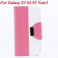 Leather Wallet Stand Design Case For Samsung Galaxy S3 i9300 S4 i9500 S5 i9600 Note 3 N9000 Flip With Card Holder Phone Bag