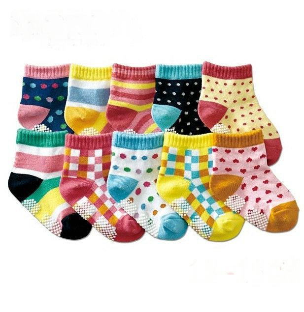 2 pair colorful Cute dot Rubber Anti slip baby socks kids boys girls socks toddler sox baby wear 12-15cm children accessories(China (Mainland))
