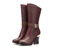 Women's shoes clearance hollow-out decorative boots in thick with wear-resistant composite bottom ladies boots