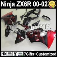 7gifts hot red black For KAWASAKI NINJA ZX6R 2000 2001 2002 K7153 ZX636 ZX-636 ZX-6R red flames ZX 6R 636 00 01 02  Fairing