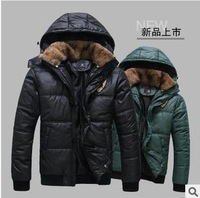 Free shipping 2014 new autumn winter men's coats hooded warm fur collar outwear men jackets casual fashion overcoat down parkas
