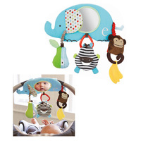 2014 new skp elephant car clipped animal dolls skp car clip lovely baby toys with mirror free shipping