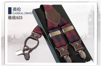2014 new Length:120cm Genuine leather accessories male clip suspenders men's casual suspenders clip spaghetti strap plaid color