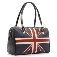 European and American Style Women Shoulder Bag East West Satchel Vintage National Flag Bags Women Leather  Handbag