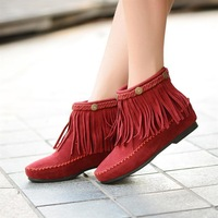 ankle boots women, Wholesale new winter snow boots flat large size heigth increasing tassel boots, free shipping, L0793