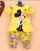new 2014 girls cartoon topolino kids clothing sets 2pcs children sweater retail wholesale girls mickey t-shirt leggings