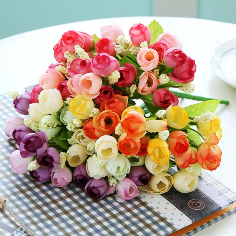 rosa de seda de la flor de la decoración de la boda flores artificiales colocados en la sala de estar las reuniones festivas casas ramo de rosas