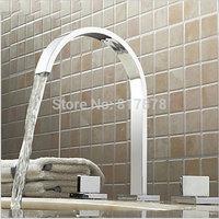 3Pcs Faucet Set Chrome Polished Bathroom Basin Sink Mixer Tap 2 Handles Bath Faucets se338
