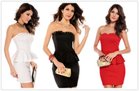 2014 Newest Sexy Dress Rivets-Embellished Bustline Peplum Dress Evening Party Banquet Night Club Dresses Red/Black/White D2824