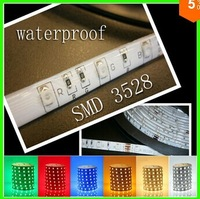 5m 300 LED SMD3528 Waterproof 12V flexible light 60 led/m,6 color LED strip white/warm white/blue/green/red/yellow