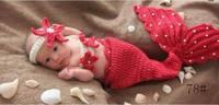 Red Mermaid Handmade Boys Baby Beanie Cap Costume Cotton Hat Animals Set Photography Props Fotografia Crochet 0-6 Months