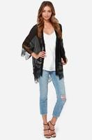 Plus Size XS-XXL 2014 American&European Fashion Chiffon Lace Patchwork Kimono Blouses Batwing Sleeve Perspective  Blouses
