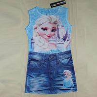 HOT Sale 2014 New Girl Frozen dress Cartoon Sleeveless dresses tutu Kids frozen dress elsa princess summer printing retail A098