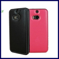 Luxury Aluminum metal Frame + Genuine leather Back Cover phone housing Case For Htc one 2 M8 cellphone bags cases
