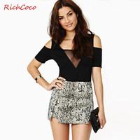 Fashion patchwork richcoco gauze tube top slim hip V-neck strapless jumpsuit