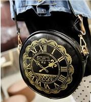 Clock design circular bag one shoulder oblique cross bag