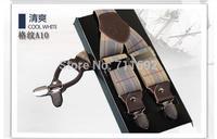 Retail 2014 fashion Genuine leather accessories male clip suspenders men's casual suspenders clip spaghetti strap checked color