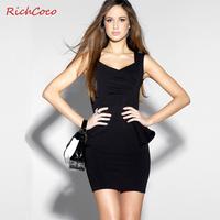 Richcoco chest pumping victoria V-neck tube top slim hip slim one-piece dress