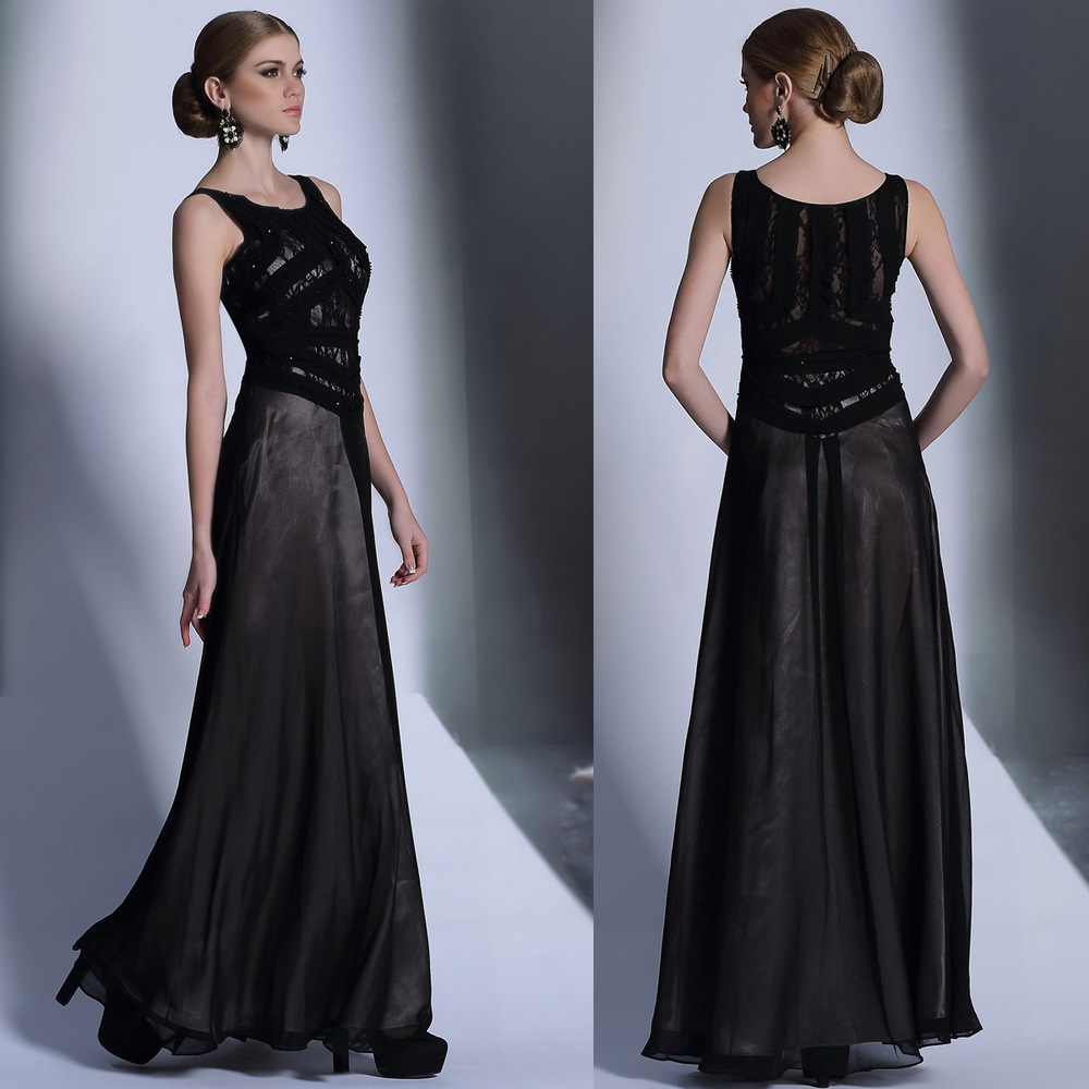 927 black round neck long section was thin and elegant evening dress evening emcee host mom big party code 2014(China (Mainland))