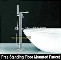 Floor Mounted Faucet Brass Chrome Bath Tub Mixer Tap Spout Shower Set Faucet free stand se339