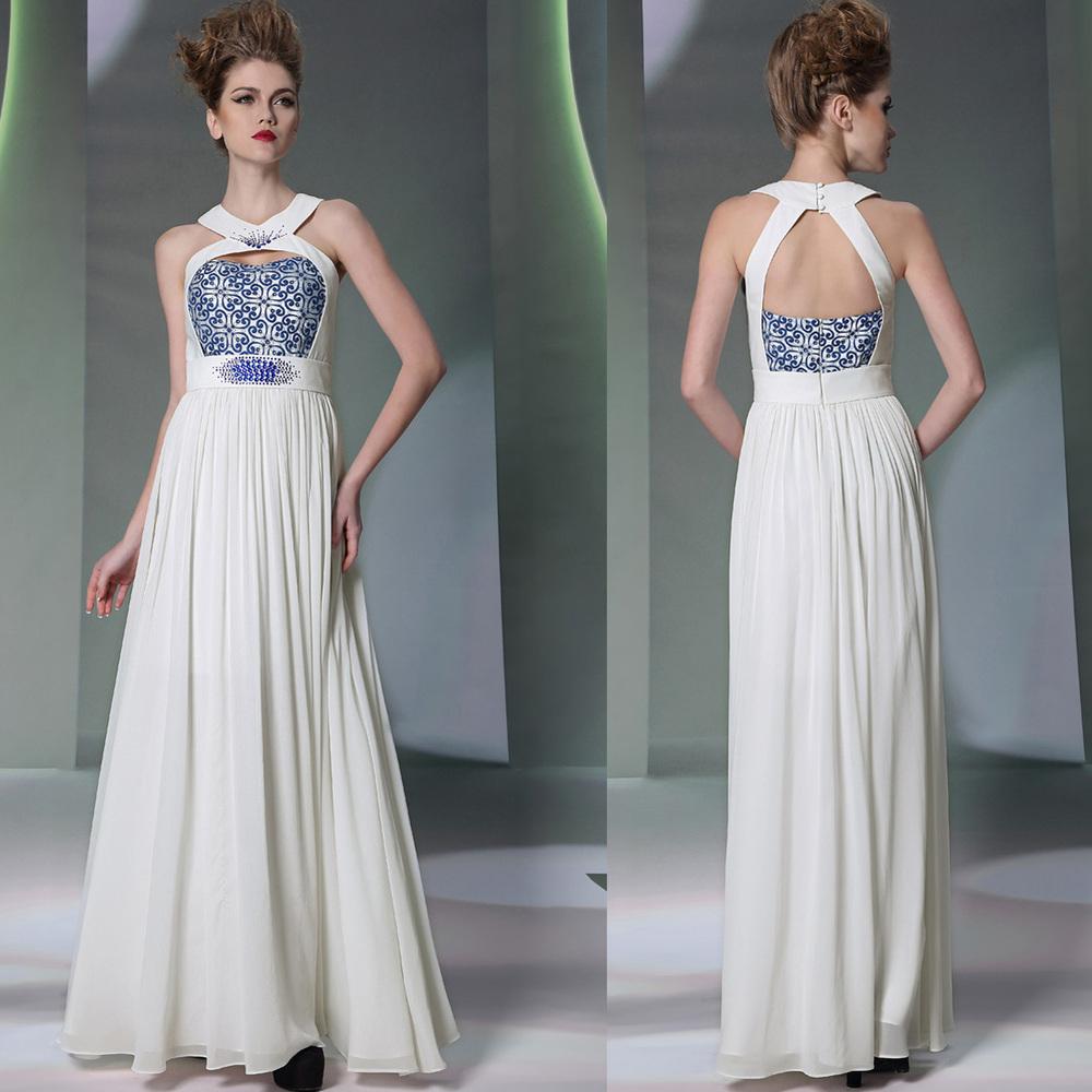 937 hollow sexy white halter dress Qi sister princess dress bridesmaid dress wedding gown presided(China (Mainland))