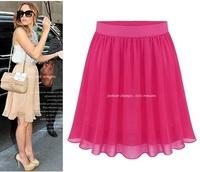 2014 hot selling summer bust skirt summer women's chiffon skirt medium half-skirt solid color all-match fashion small fresh 8949