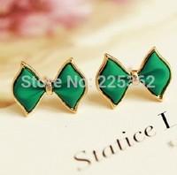 Free Shipping--(Min.Order$20)2014 Lady Cube Bowknot Fashionable Joker Cute Earrings-Blue Color