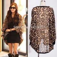 summer thin woman blouse chiffon leopard print kimono cardigan bawting long sleeve jackets,blusa chifon blusas feminina