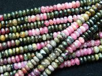 Wholesale  natural tourmaline 4*6mm rondelle beads mix color stone
