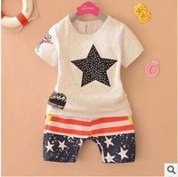 Retail 1set Children Clothing Summer Star print Set  girls short sleeve t-shirt+pants suit kids Braids doll head sleeved suit