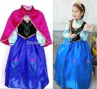 summer dress 1pcs retail, new 2014 Frozen Elsa Anna costume princess dress sequined cartoon costume Free shipping girls dresses