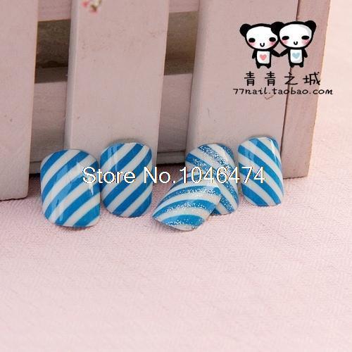 Marinha listrado curto Nails Manicure Escritório essenciais naturais unhas posti?as dicas de moda NADECO Unhas Unhas Posticas(China (Mainland))